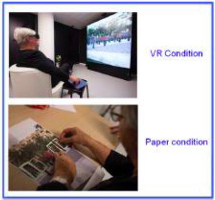 Ilustración 6: Condición tradicional y RV de evaluación de tareas de cancelación